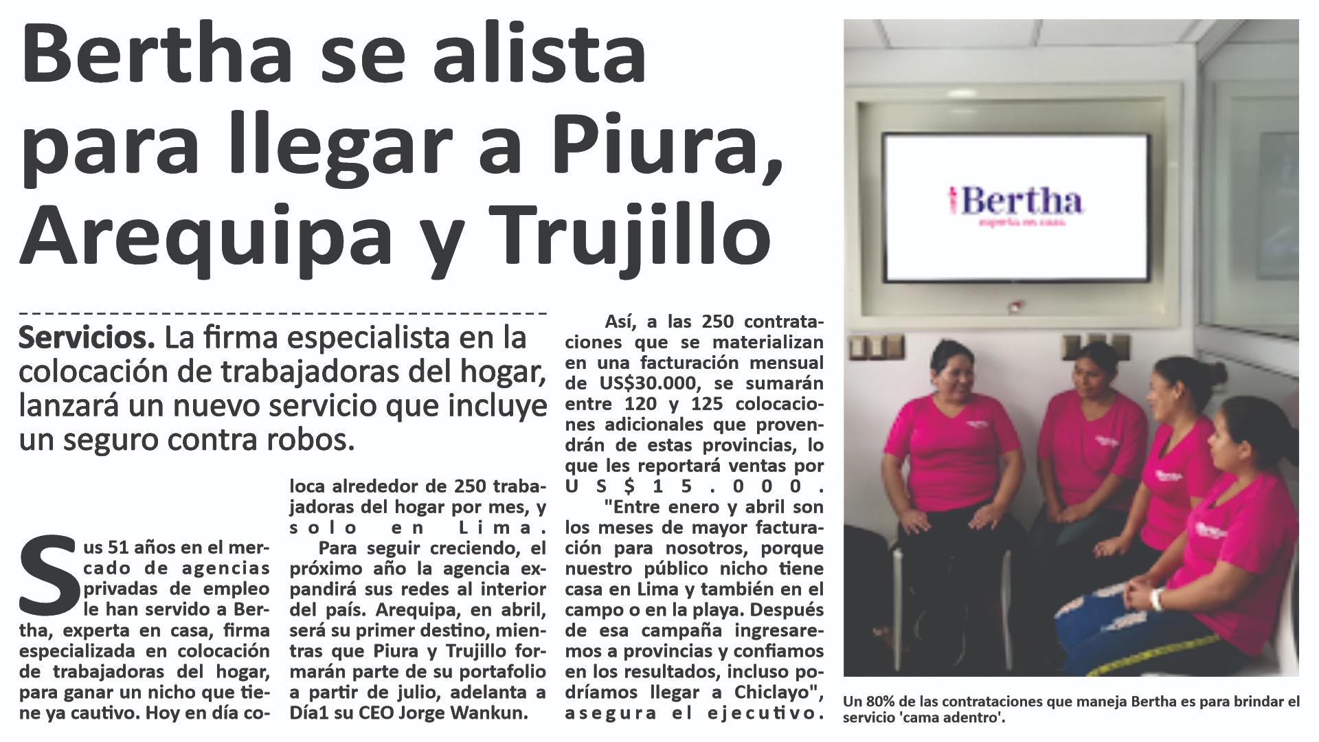 Bertha se alista para llegar a Piura, Arequipa y Trujillo